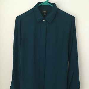 Mossimo teal long-sleeved blouse, hidden buttons